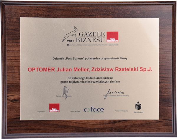 Pamiątkowy dyplom potwierdzający otrzymanie Gazeli Biznesu dla firmy OPTOMER.