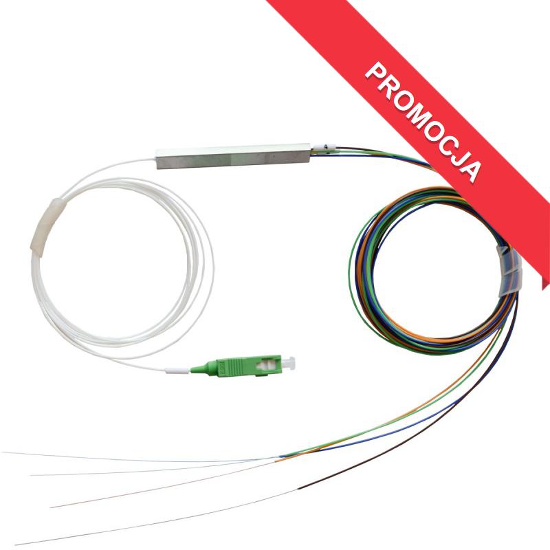 Splitter Optyczny PLC 1x4 (obudowa minimoduł) wejście złącze SC/APC 1,5 m, wyjście 4 x tuba kolorowe włókna 1,5 m